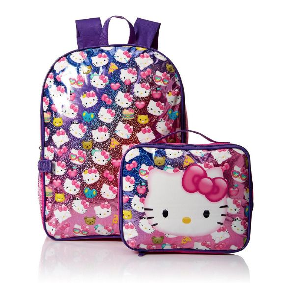 """Hello Kitty Tossed Kitty 16"""" Backpack with Lunch Bag Kit NEW #HelloKitty #Backpack"""