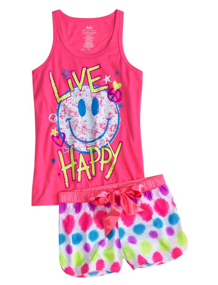 Live Happy Smile Short Pajama Set | Short Sets | Pajamas | Shop Justice