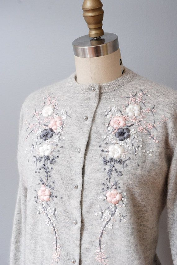 1950s Cardigan Sweater  Gray Angora by OldFaithfulVintage on Etsy, $40.00
