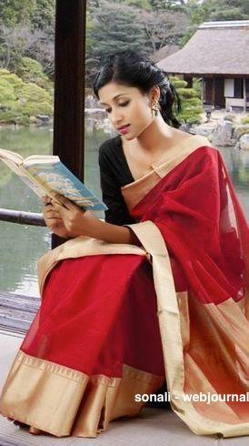 Handwoven Chanderi saree - coloroso.in