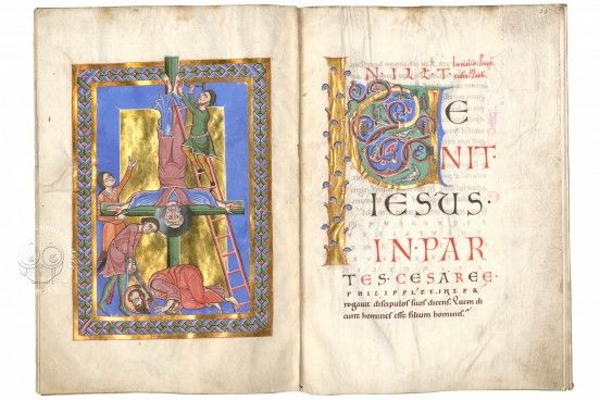 The Passau Evangelary, Munich, Bayerische Staatsbibliothek, Clm 16002, Passau Evangelary - f. 32v-33r (Crucifixion of St. Peter and beheading of St. Paul)
