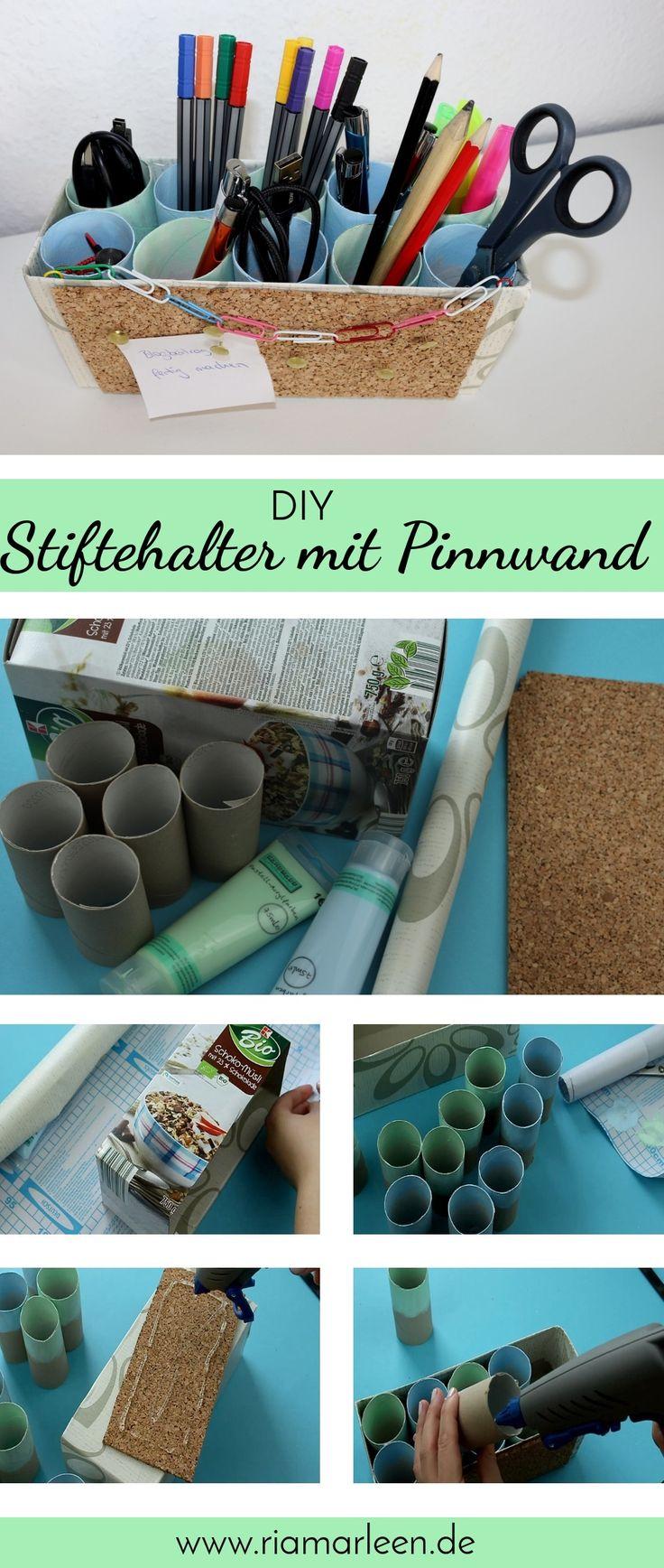 DIY Stiftehalter Mit Integrierter Pinnwand + Video. Nie Wieder Unordnung  Auf Dem Schreibtisch ...