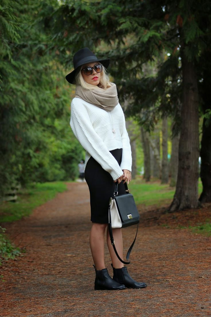 """Outfit details: Hat, Forever21 // Scarf, T.Babaton from Aritzia // Necklace, """"Fleur de Lis"""" Tiffany & Co // Sweater, Marshals ($20! I love Marshals) // High-wasited ribbed skirt,  Forever 21 // Boots, ShoeMint // Bag, Kate Spade //"""