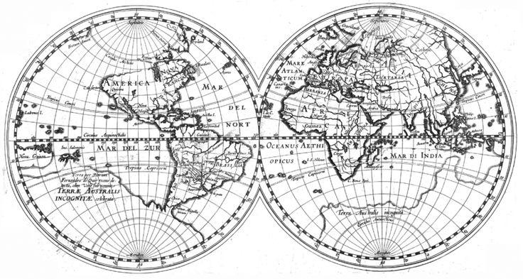 Worldmap of 1612 including the discovery of La Austrialia del Espiritu Santo by Pedro Fernandes de Queirós (source: Wikimedia Commons)