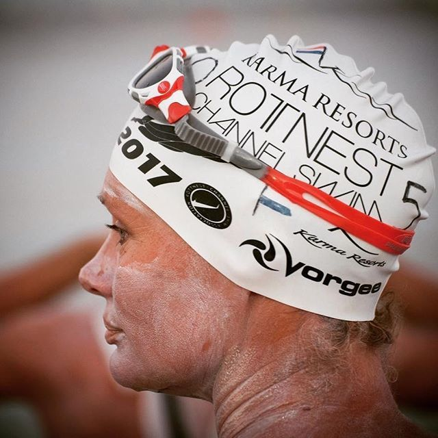 The dedication, the focus – a competitor faces the sea during the Karma Resorts Rottnest Channel Swim 🏊🏻♀️ #tbt #ExperienceKarma #KarmaResorts #KarmaRottnest #KarmaResortsRottnestChannelSwim #Dedication #Profile #InstaGood #Proud #ProudSponsors #RottoSwim