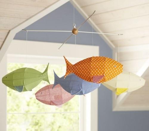 fish mobileBeach House, Wire Hangers, Pottery Barn Kids, Fabrics Fish, Fish Mobiles, Pottery Barns Kids, Scrap Fabrics, Beachhouse, Baby Shower