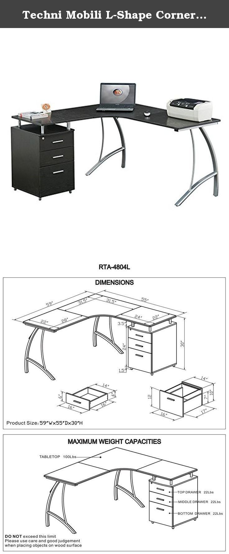 Techni Mobili L-Shape Corner Desk with File Cabinet. Streamlining your workday is as easy as setting up the Techni Mobil L-Shape Corner Desk with File Cabinet. The space-saving L-shaped desk's heavy-duty engineered wood desktop and storage cabinet module are topped with moisture-resistant PVC laminate veneers for extra durability – important when you're piling papers on the desk top and filing them away later in the two accessory drawers and single large file drawer. A built-in locking...