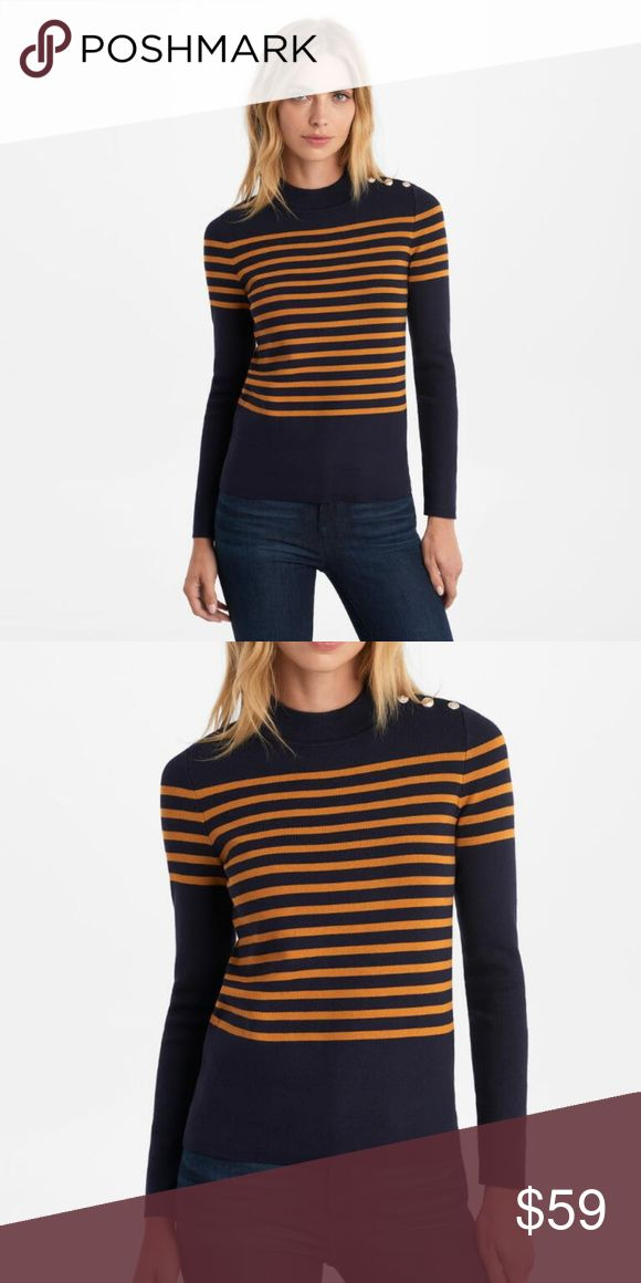 """NWT Karl Lagerfeld Rugby Stripe Sweater NWT Karl Lagerfeld Women's Rugby Stripe Sweater, Sz XL  Lined long-sleeve top with buttons at left shoulder Navy Blue With Gold Stripes • Mock neck • Long sleeves • Pullover style • KL logo buttons • About 26"""" from shoulder to hem • 80% Rayon, 20% Nylon • Hand wash (Measurements: Taken While Item Laying Flat) 26"""" L 21"""" Armpit to Armpit 26"""" L Sleeves (Shoulder to Cuff) Karl Lagerfeld Sweaters"""