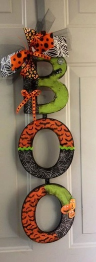 """BOO"" door /wall hanging  wood letters covered in scrapbook paper...could use same idea for other holidays, or name or initial for child's room"