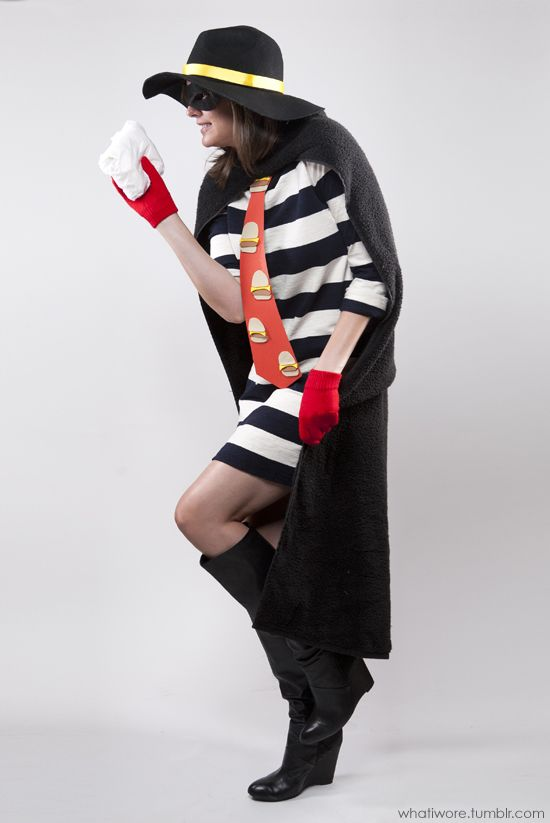homemade hamburgler costume. jessica quirk is such a champ.