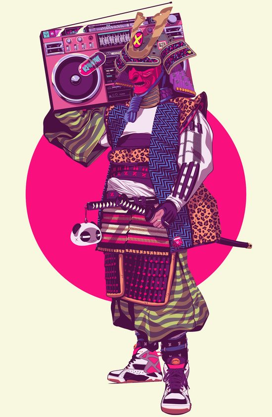 Hip-Hop Samurai by Mike Wrobel |  #Yellowmenace  #Samurai |  + https://society6.com/product/hip-hop-samurai_print?curator=yellowmenace