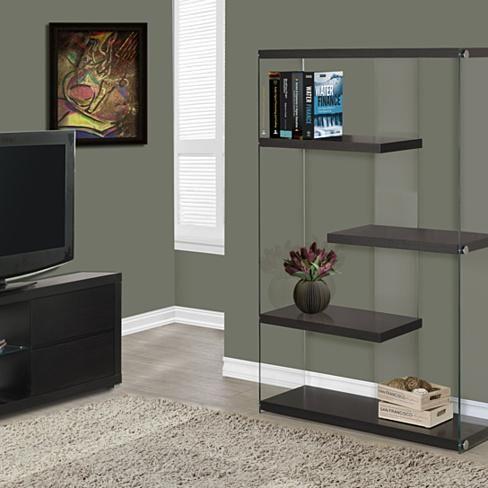 "Cappuccino Hollow-Core/Tempered Glass 60""H Bookcase"