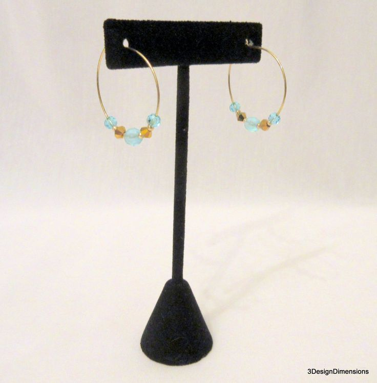 Gold Hoop Earrings, Beaded Gold Hoop Earrings, Beaded Hoops, Beaded Gold Hoops, Crystal Beaded Hoops, Handmade Earrings, Gift for Her by 3DesignDimensions on Etsy