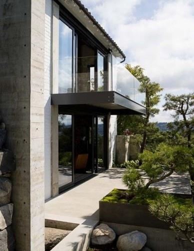 Glass balcony.