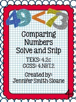 Comparing Numbers Word Problems Solve and Snip- Interactive Word Problems aligned to TEKS and Common Core $