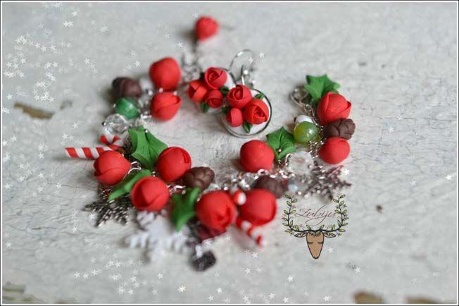 Christmas bracelet and earrings, red ranunculus, polymer clay flowers by Zubiju https://www.facebook.com/Zubiju