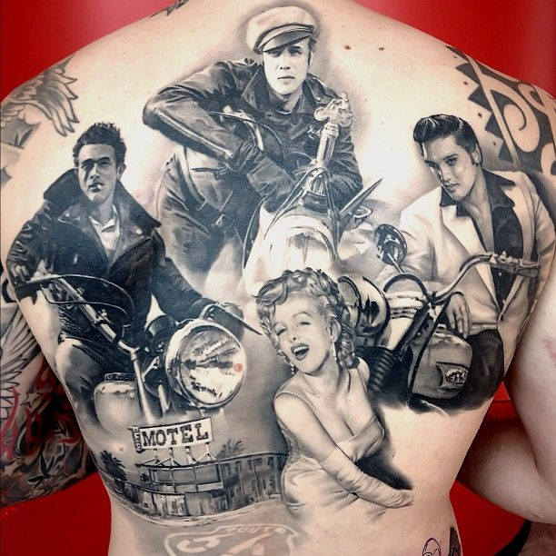 Slow Clapping this Marlon Brando, James Dean, Marilyn Elvis back piece by Matteo Pasqualin