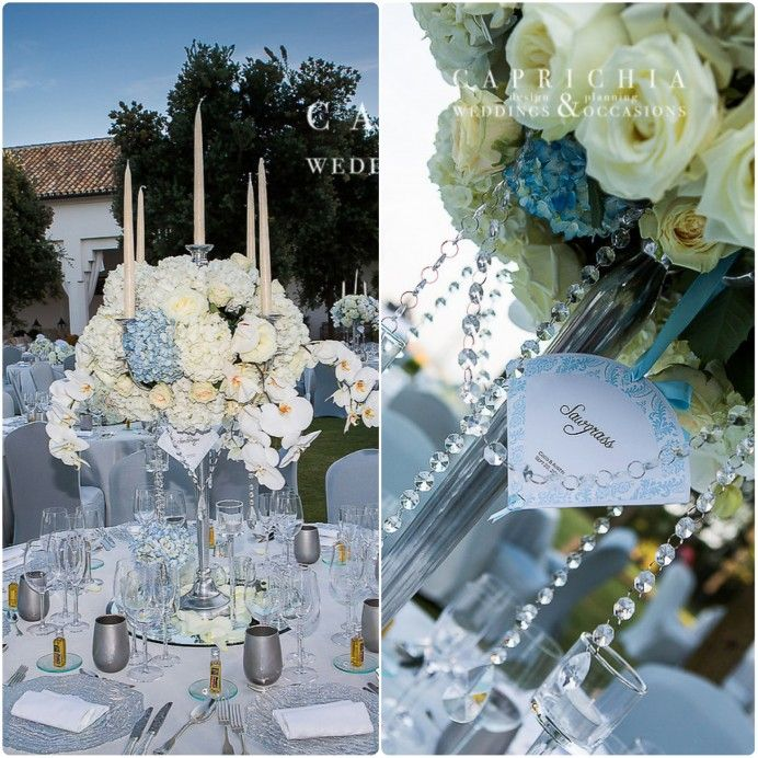 Stunning white and light blue wedding florals with hanging crystals by caprichia.com Weddings & Occasions in Spain Flowers by L&N Floral Design.