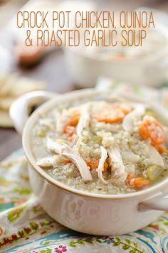 Crock Pot Chicken, Quinoa & Roasted Garlic Soup ~ The Creative Bite