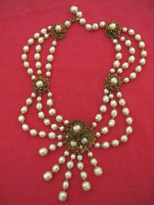 Stunning Miriam Haskell Baroque Pearl Bib Necklace Swag Style   eBay