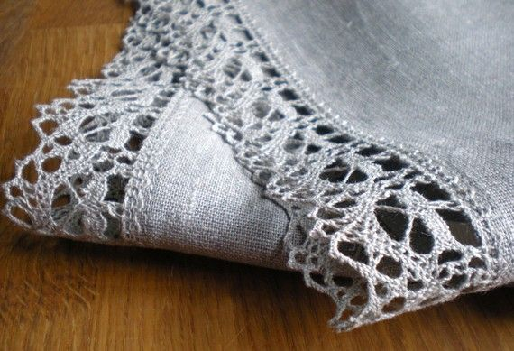 2 Luxury Natural Linen Towels With Lace Flax Tea by LinenLifeIdeas