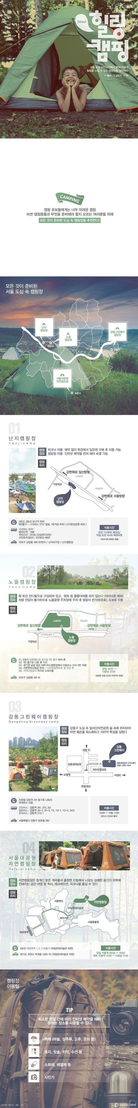 캠핑, 이젠 서울 도심에서 즐기자 [인포그래픽] #Camping / #Infographic ⓒ 비주얼다이브 무단 복사·전재·재배포 금지