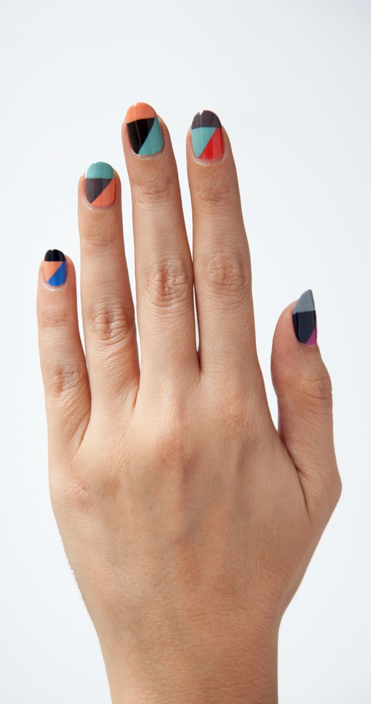 Sharp angles, bright colors. #nails #manicure #nailart