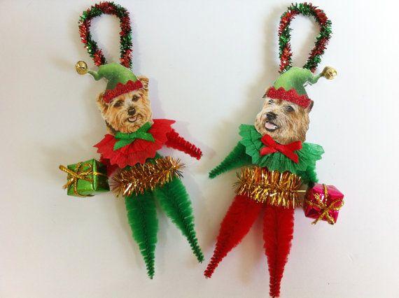 ELF Norfolk Terrier Christmas vintage style door StanleyAndStewart