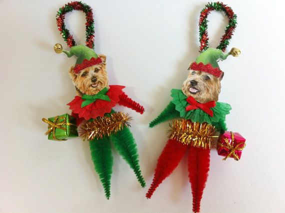 ELF Norfolk Terrier Christmas vintage style door StanleyAndStewart