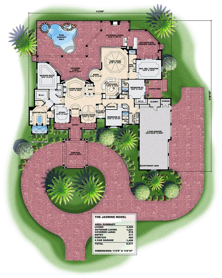 Florida mediterranean house plan 72805 mediterranean for Florida mediterranean house plans