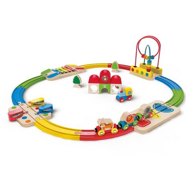 Musical and colourful engagement abounds on this toddler-friendly train track! Children will problem solve with shapes and experiment with sound as they move their train through the track.