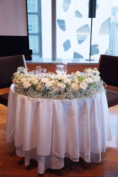 8月、ブラッスリー ポールボキューズ銀座様への装花でした。  外は台風が近づく天気。    一会では、会場装花をお請けした日が雨模様の場合...