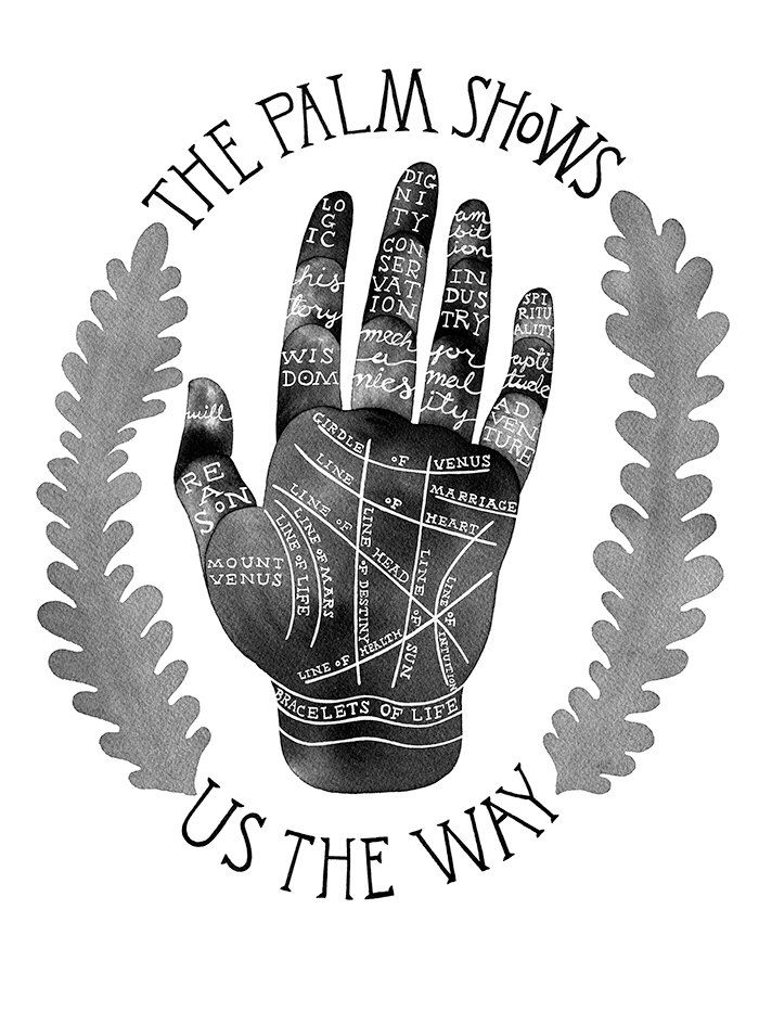 "Palm reading art print in black and white watercolor and India ink inspired by vintage palm reading charts, 9x12"" by CCillustration on Etsy https://www.etsy.com/listing/241845203/palm-reading-art-print-in-black-and"