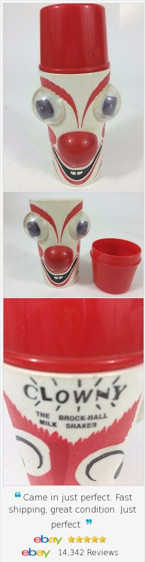 Unusual vintage plastic cup from Brock Hall #Dairy in Connecticut.  Milk Shaker Vtg #Clown Bulging Google Eyes Cup 1960's Exc Clowny