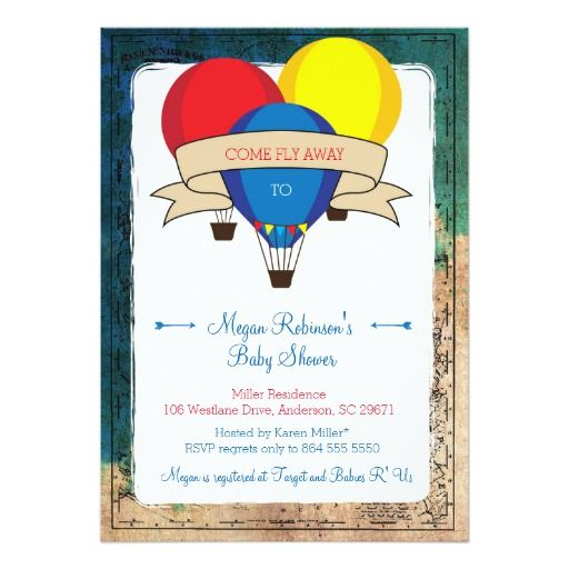 415 best adventure baby shower invitations images on pinterest adventure hot air balloon baby shower invitations stopboris Image collections