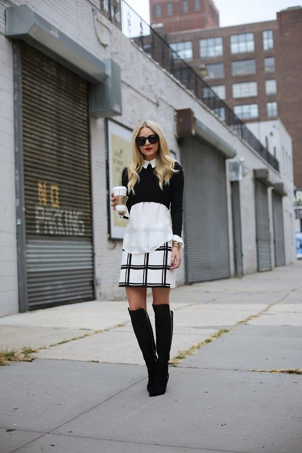 layered top with checkered skirt