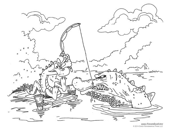 an alligator coloring page for kids illustrated by tim van de vall