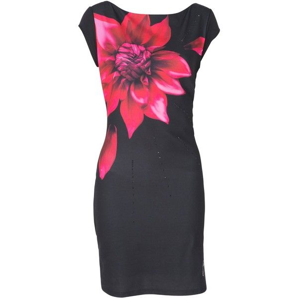 Desigual Isla Rep Dress (11610 RSD) ❤ liked on Polyvore featuring dresses, black, women, lbd dress, little black dress, shift dress, desigual dresses and flower shift dress