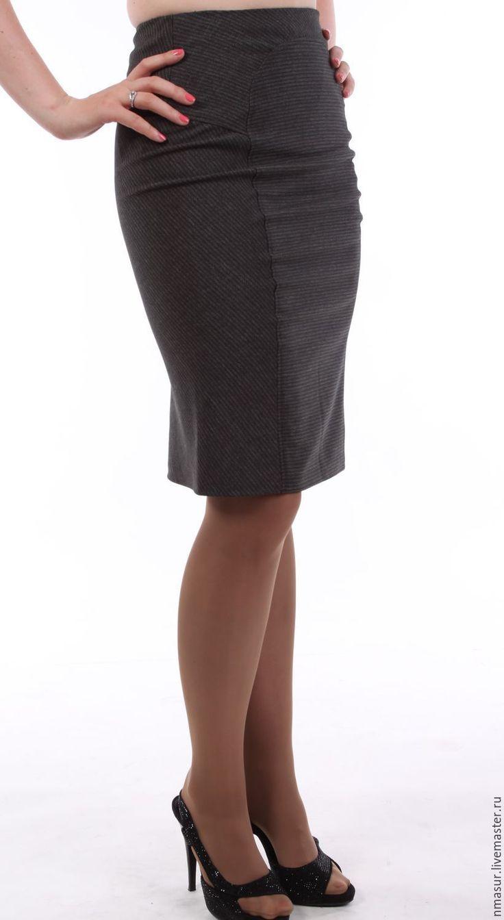 Купить Серая офисная юбка маленького размера - темно-серый, юбка авторская, офисная юбка