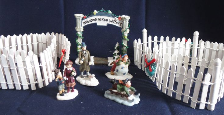Christmas Village Model Railroad 6' White Picket Fence Blue Waters Arch Figures #Unbranded