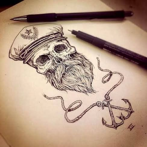 Mariner skull tattoo. Tatouage de crâne de marin.