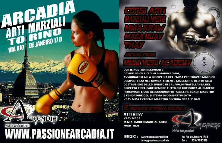 Palestre Torino Arcadia : Via Rio de Janeiro  --------------------------------------------------       2 GIORNATE DI PROVA GRATUITA --------------------------------------------------  Le nostre attivita` :  M.M.A KRAV MAGA  TAI CHI PALLAVOLO VOLLEY TIRO CON L'ARCO MUSICA LIVE PROMOZIONE SOCIALE ANIMAZIONE MUAY THAI TEATRO FITNESS E BENESSERE                 Associazione Sport ARCADIA                  WWW.PASSIONEARCADIA.IT                      334/7993316…