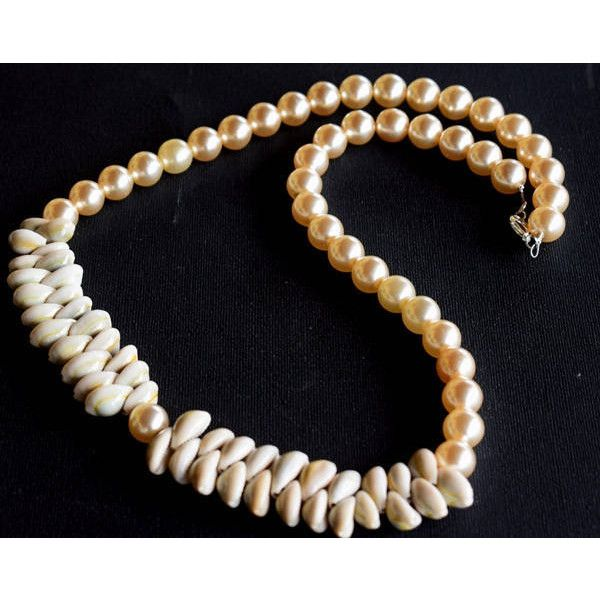 Glass Pearls Necklace Beige pearls necklace Pearls and Sea Shells... ($34) ❤ liked on Polyvore featuring jewelry, necklaces, mariellascode, pearls, seashell necklace, long pearl necklace, christmas jewelry, shell necklace and sea shell jewelry