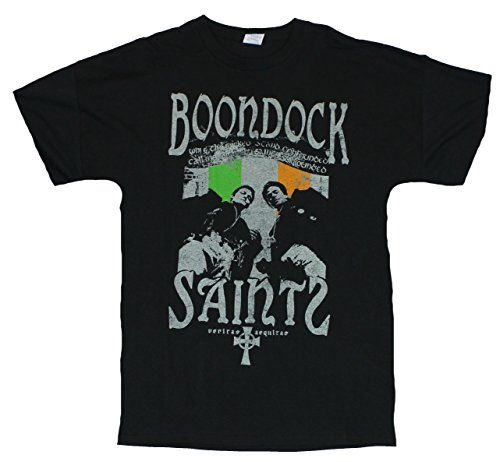 The Boondock Saints Mens T-Shirt - Distressed Brothers Over Irish Flag Image (XX-Large) Black @ niftywarehouse.com #NiftyWarehouse #BoondockSaints #NormanReedus #Film #Movies #CultMovies #CultFilms