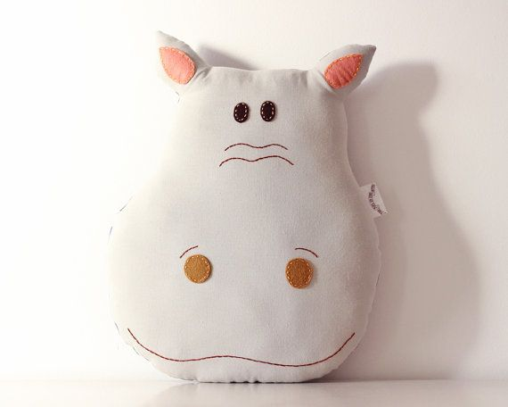 Hippo Pillow Cushion Handmade Room Decoration by TheFoxintheAttic, £28.00