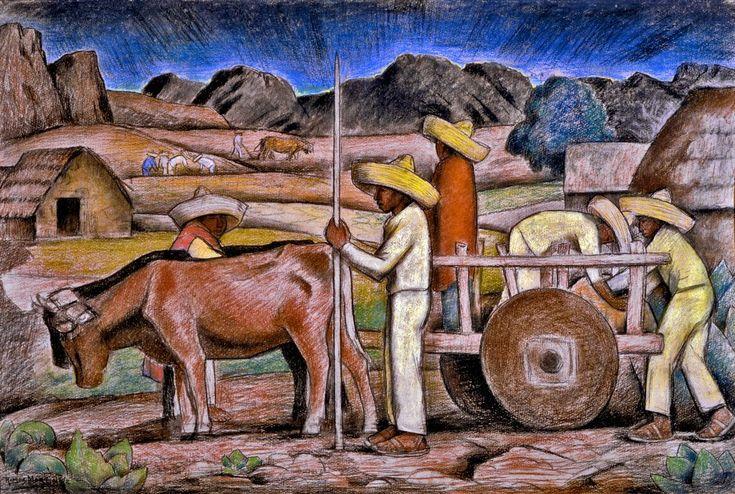 Campesinos / Peasants ca. 1935 pastel on tan wove paper / pintura al pastel sobre papel casca tejido 23.5 x 35 inches; 59.7 x 88.9 centímetros Britannia Foundation