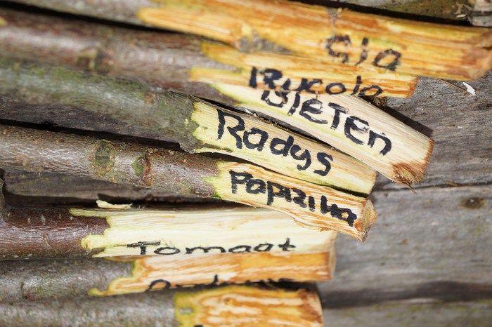 Planten naambordjes van snoeihout