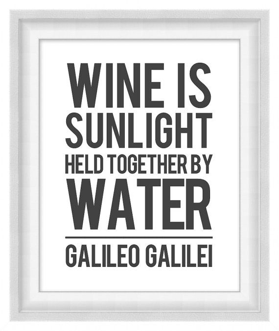 Printable Poster - Wine Is Sunlight - Vertical 8x10 by BonMotPhraseology $5