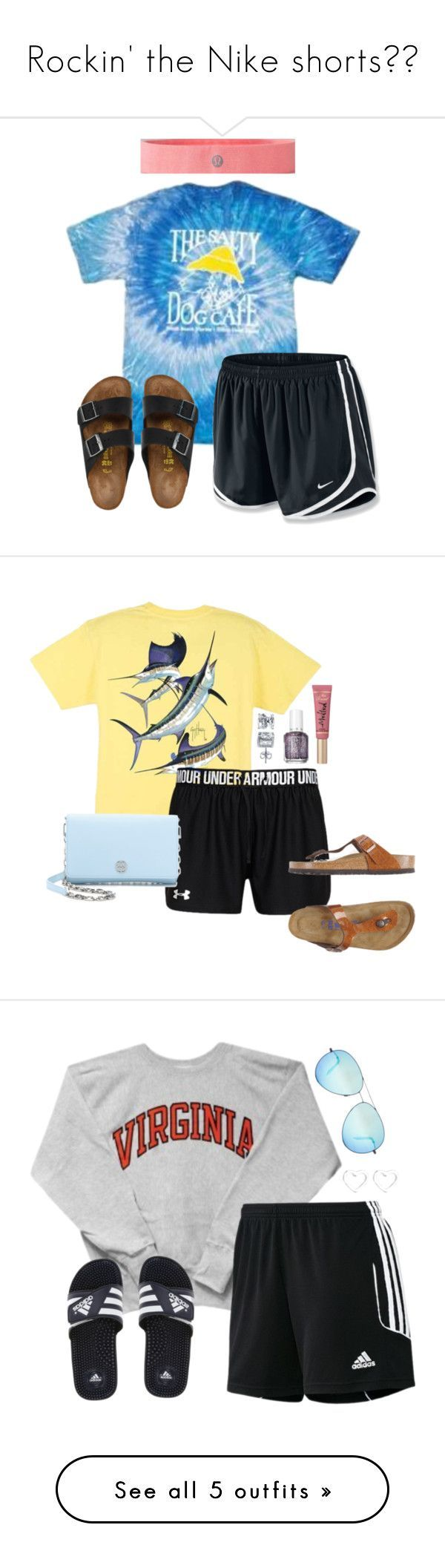 """Rockin' the Nike shorts"" by highheel-hannah ❤ liked on Polyvore featuring NIKE, lululemon, Birkenstock, Guy Harvey, Under Armour, Tory Burch, BERRICLE, Too Faced Cosmetics, Essie and adidas"