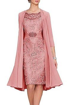 Women's Tea Length Mother of The Bride Dresses Two Pieces with Jacket